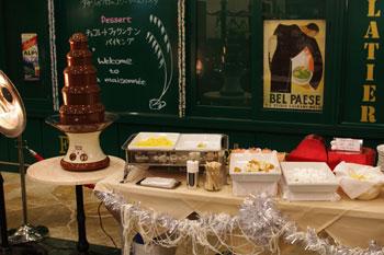 新横浜ラントラクトにあるカフェ&バー「ラ・メゾネ」のチョコレートファウンテン