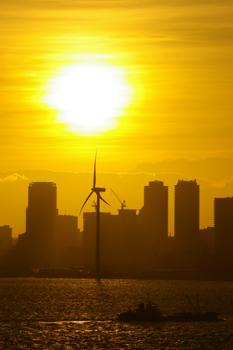 横浜大黒大橋からの夕景(風車)