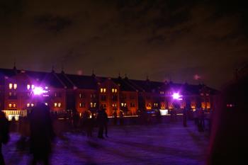 横浜のスケート場 アートリンク in 横浜赤レンガ倉庫の風景(夜)