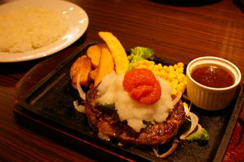 横浜ワールドポーターズのステーキハウスのハンバーグ1