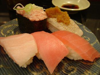 回転寿司 まぐろ問屋 三浦三崎港のマグロ5点盛り