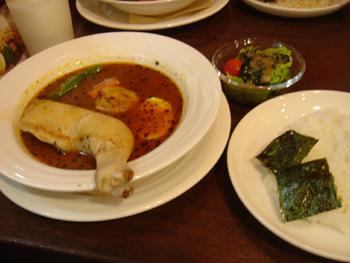横浜ダイヤモンド地下街にあるスープカレー心のチキンカレー