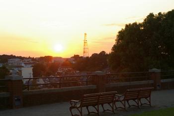 横浜根岸森林公園の夕日とベンチ
