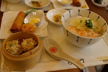 横浜中華街のCafe Shofukumon(招福茶楼)のお粥セット