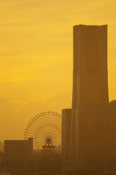 横浜大黒大橋からの夕景(横浜ランドマークタワー)