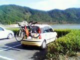 自転車積載パンダ土師ダムにて