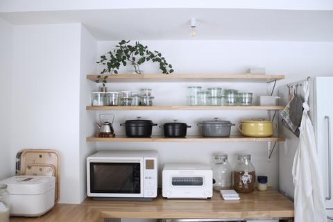 キッチンのオープン収納を整理する!