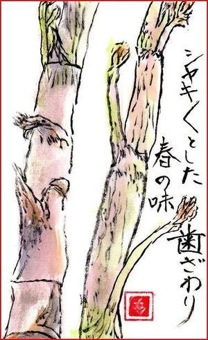 絵手紙・山菜ウド
