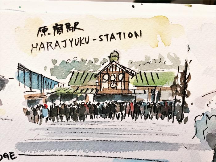 2020.01.11東京ペン水彩で街角クロッキー (5)