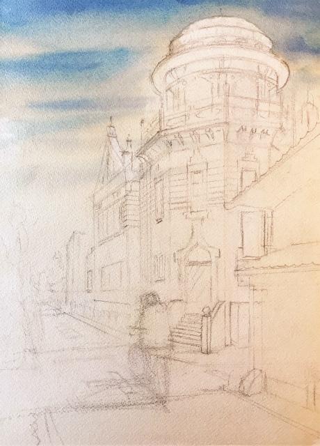 透明水彩画「午後の配達」(京都 伝道院)製作途中 (1)