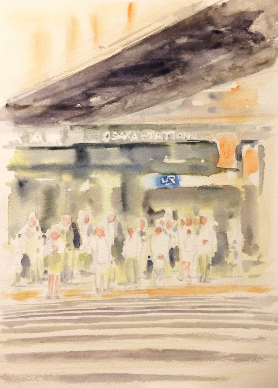 15透明水彩画「大阪の風景(JR大阪駅前)」途中1