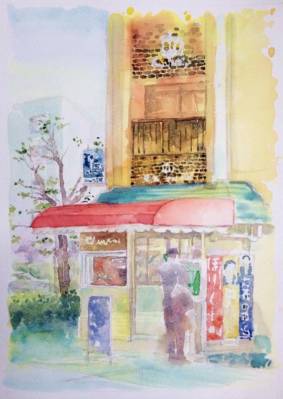 透明水彩画「京都の風景(八幡市駅前)」F4途中2