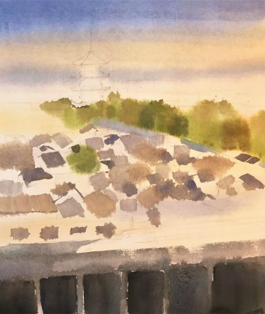 透明水彩画「家路」アヴァロン10号 (3)途中