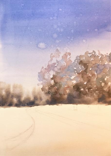 2020.01.04透明水彩画「白い恋人」途中 (2)
