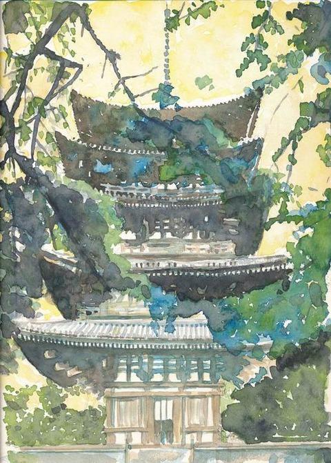 作品 「奈良 興福寺 五重塔」着彩途中 パート1♪