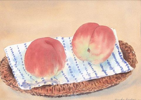 透明水彩画作品『桃』を5点も描きました♪ v( ̄∇ ̄)v・・・♪♪♪♪