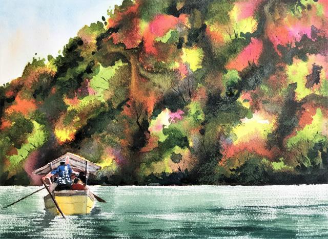 透明水彩画「保津川下り(京都嵐山)」完成
