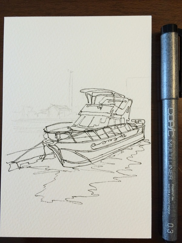 08透明水彩一本線スケッチ「ヨットハーバー」途中