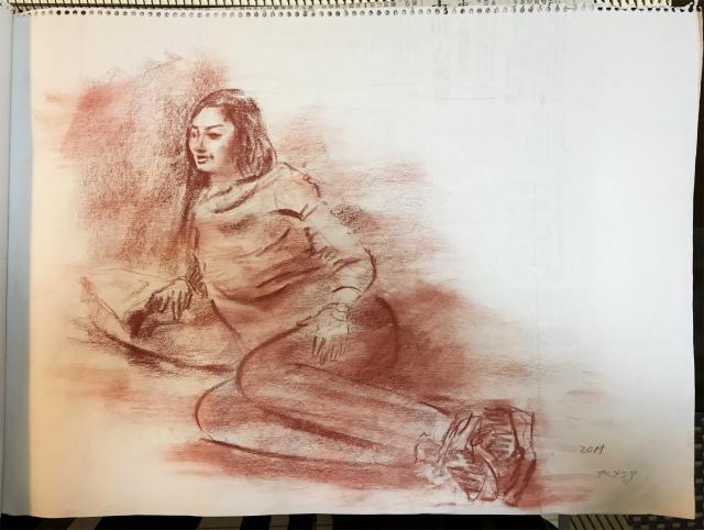 着衣クロッキー シリアの女子大学生