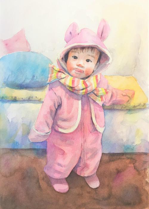 2020.03.08透明水彩画「うちの子がウサギだった頃」途中 (3)