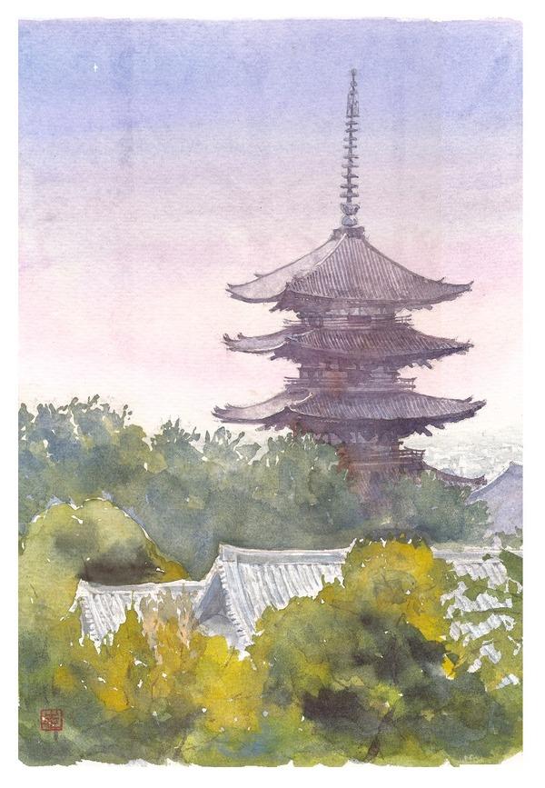 透明水彩画『奈良 興福寺 一番星』&制作工程