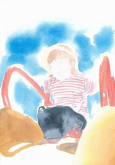 透明水彩画『うちの子』着彩途中