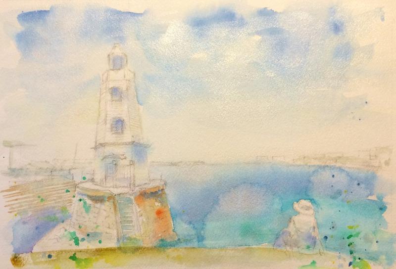 透明水彩画「大阪の風景(堺港)」途中