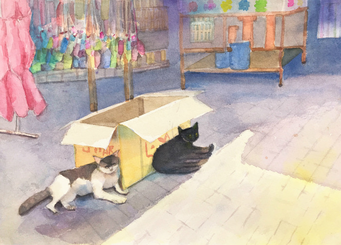 Hさん透明水彩画「タイの街角の風景(仮題)」と「献花」