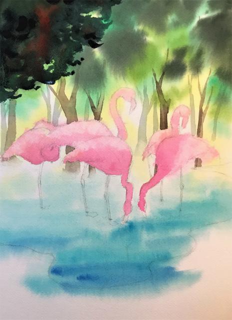 透明水彩一本線スケッチ(コラージュ)「oasis」アルシュ細目 (3)