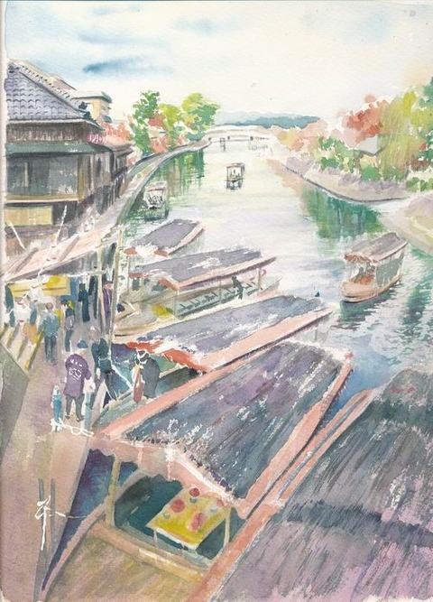透明水彩画作品「京都宇治川公園界隈」着彩途中2