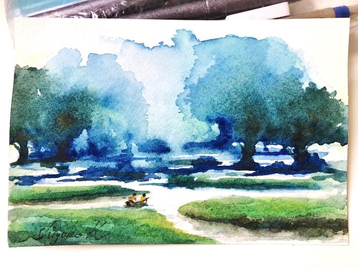 葉書de一日一枚 滲みで透明水彩ミニチュア画「冒険旅行」