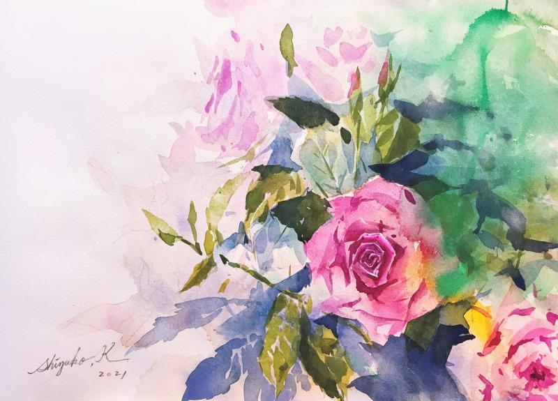 透明水彩画「薔薇の習作」~とはいえフワッとサラッとは魅力的~