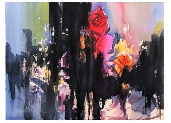 画家石上誠氏の絵画講座に参加 抽象的表現に挑戦する