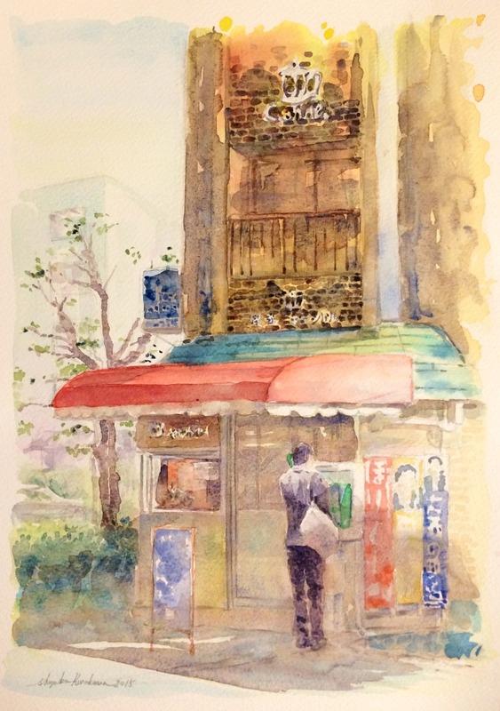 透明水彩画「京都の風景(八幡市駅前)」完成~ (*^ー^)ノ☆