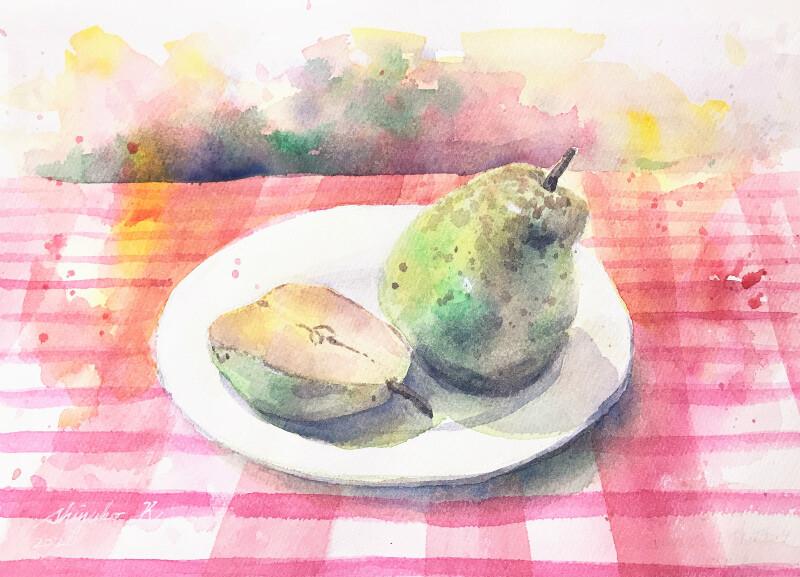 透明水彩静物スケッチ「お皿と果物」