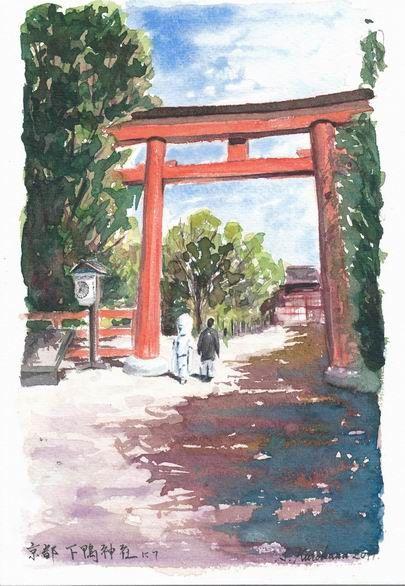 透明水彩画作品「京都市下賀茂神社にて『門出』」