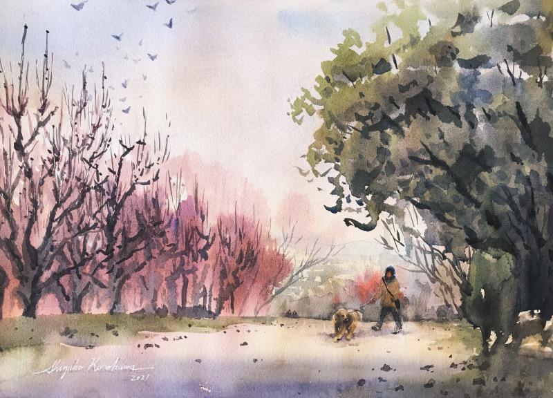 2021.02.19透明水彩スケッチ「杏の花の咲く丘で」(鶴見緑地)