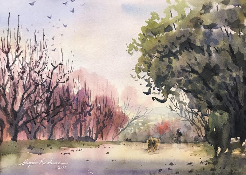透明水彩スケッチ「杏の花の咲く丘で」(鶴見緑地)