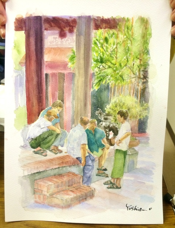 24OYさん透明水彩画「ベトナムの風景」