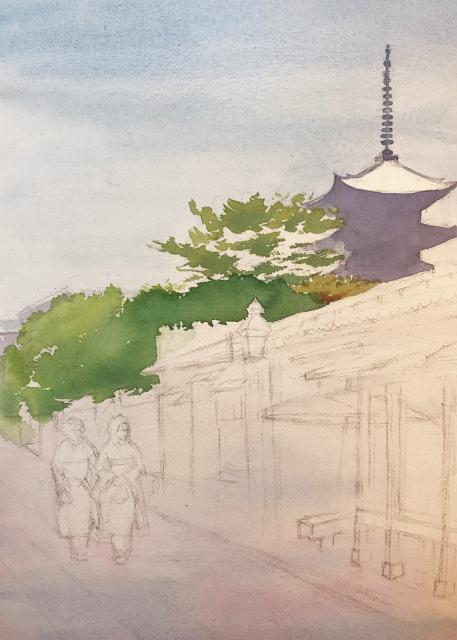 透明水彩画「夏の朝(寧々の道)」製作途中 (2)