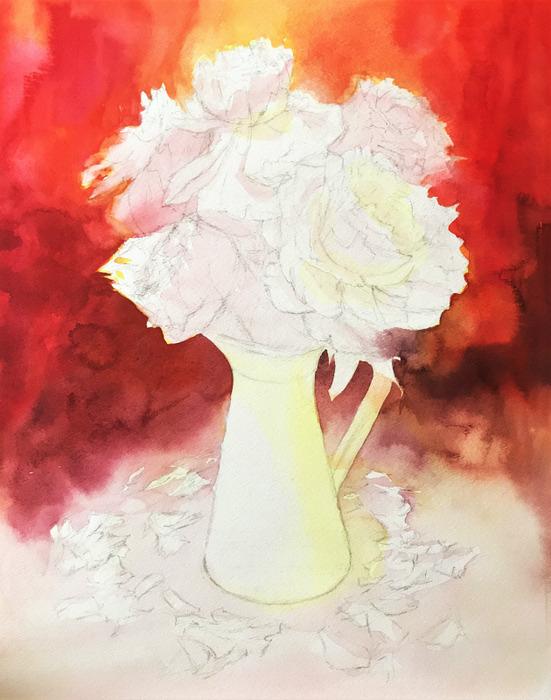 透明水彩画「赤い世界」途中 (2)