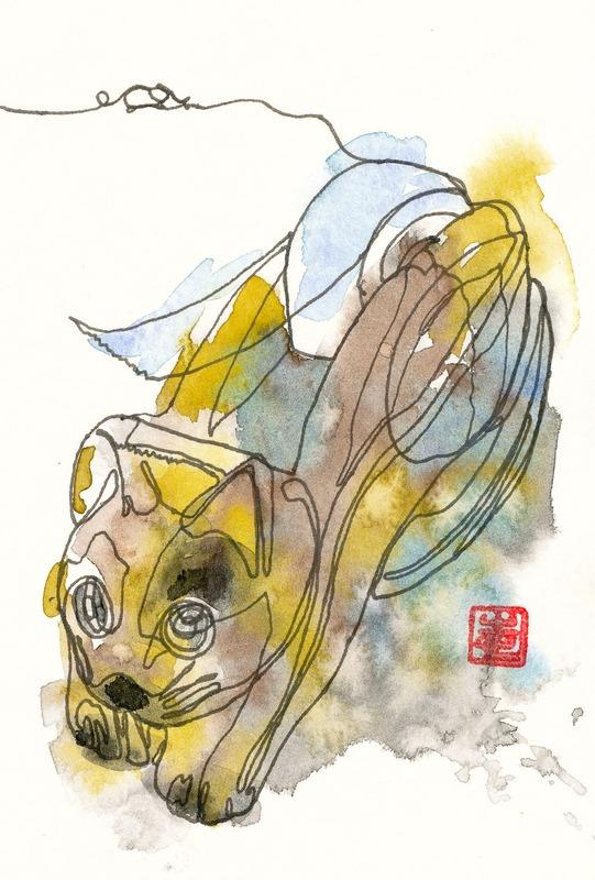 透明水彩一本線スケッチ#6だニャー&アートエッセイ「上手な初心者」