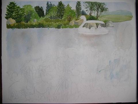 透明水彩画「国立明石海峡公園」 (2)