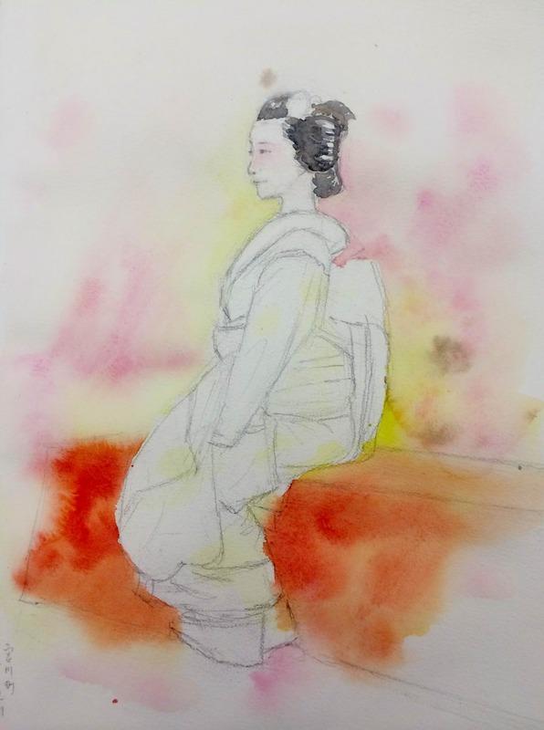 18京都画材祭り舞妓スケッチ「宮川町ふく真莉さん」 (2)