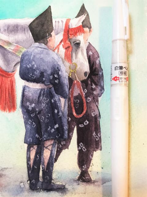 透明水彩画「峠にて(京都 時代祭り 巴御前)」arches2636途中 (3)
