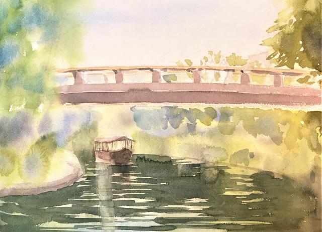 透明水彩画「秋の香り」(京都伏見) (2)