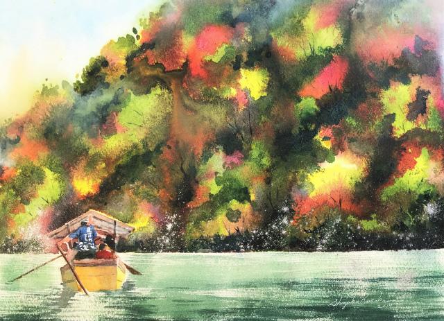 心象風景 透明水彩画「保津川下り(京都 嵐山)」