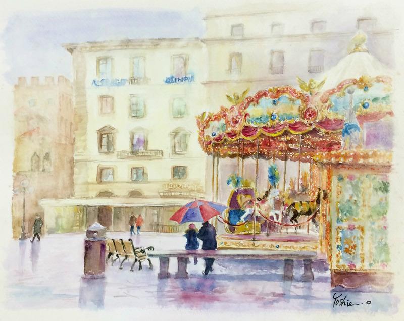 くろかわ透明水彩画教室OYさん作品「雨上がりの広場(フィレンツェ)」