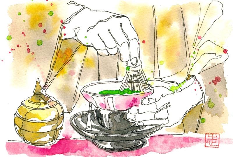 透明水彩一本線スケッチ「野点」茶会にて&アートエッセイ「自分の絵って」その2