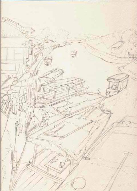 透明水彩画作品「京都宇治川公園界隈」下描き